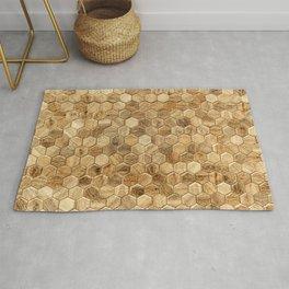 Hexagon wood tiles pattern background Rug