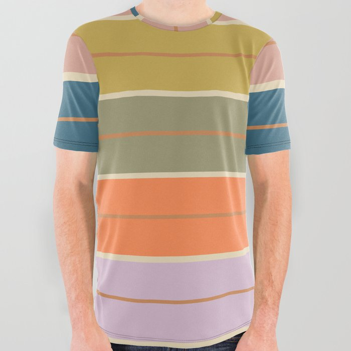 Pastel Stripes All Over Graphic Tee