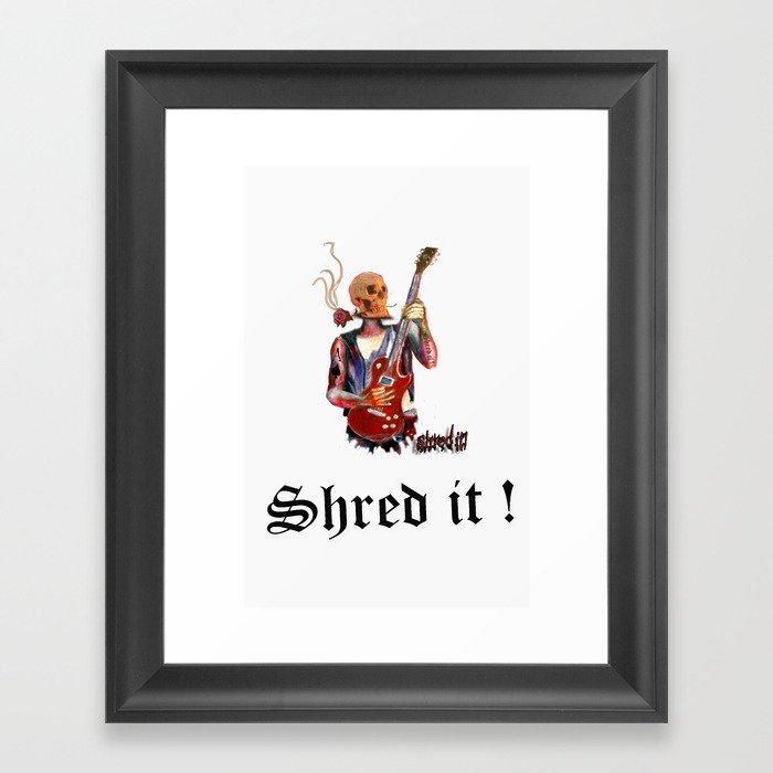 Shred it Skull guitar player  Framed Art Print