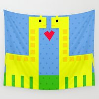 giraffes Wall Tapestries featuring Two Giraffes by Jessica Slater Design & Illustration