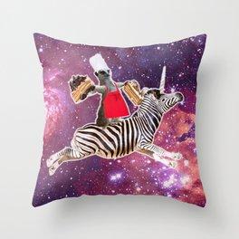 Lemur Riding Zebra Unicorn Eating Cake Throw Pillow