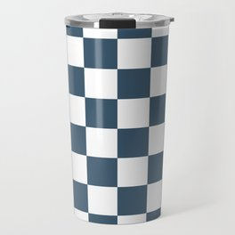 Dusky Blue Checkers Pattern Travel Mug
