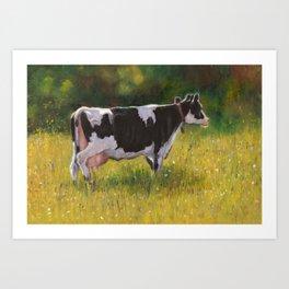 Hostein Dairy Cow in Summer Pasture, Oil Pastel Art Art Print