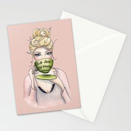 Margaux and her cup of tea Stationery Cards