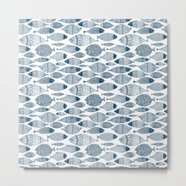Blue Fish White Metal Print