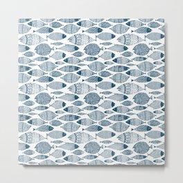 Blue Fish White Metal Print