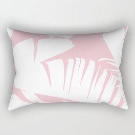White on Pink Tropical Banana Leaves Pattern Rectangular Pillow