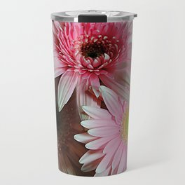 Pink Daisy Boquet Travel Mug