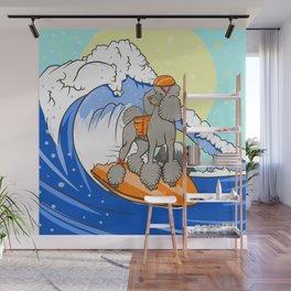 Dog on a surfboard Wall Mural