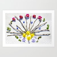 Spring flowers and branches III Art Print