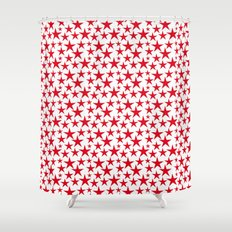 Red stars on white background illustration Shower Curtain