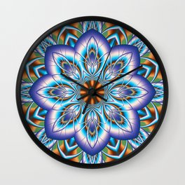 Fantasy flower in purple and blue Wall Clock