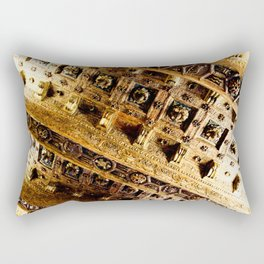 Roman Gold and Brown Warm Architectural Ceiling Art Rectangular Pillow