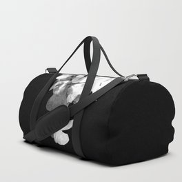 White Orchids Black Background Duffle Bag