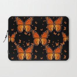 ORANGE MONARCH BUTTERFLIES BLACK MONTAGE Laptop Sleeve