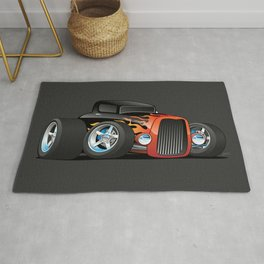 30's Street Rod with Classic Hot Rod Flames Cartoon Rug