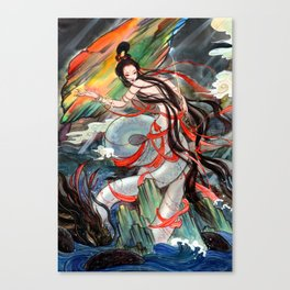 WaterColor Chinese Beauty in Tales: Nv Wa 女娲补天 Canvas Print