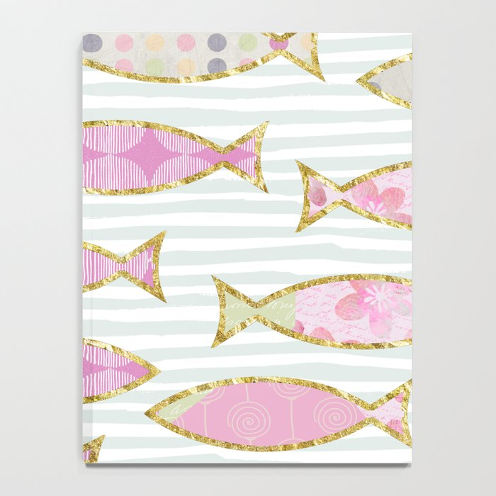 Fancy Fish pastel patchwork pattern Notebook