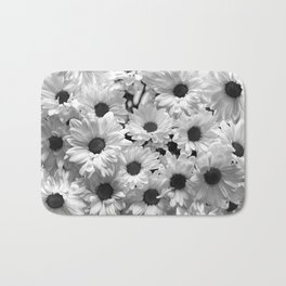 Daisy Chaos in Black and White Bath Mat