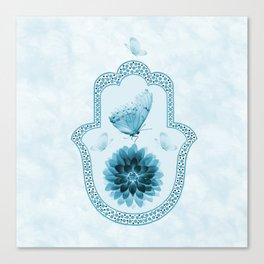 Butterfly Lotus Blue Hamsa Hand Canvas Print