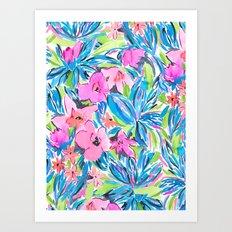 Flaunting Floral Aqua Art Print