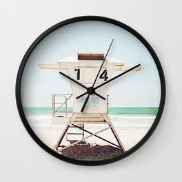 Lifeguard Stand, Beach Photography, San Diego California, Blue Aqua Seashore Ocean Summer Art Wall Clock