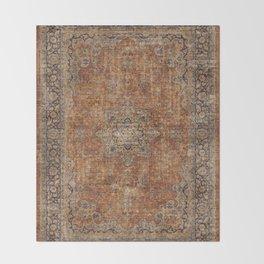 Antique Persian Mustard Rug Throw Blanket