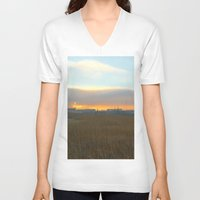 industrial V-neck T-shirts featuring Industrial sunset. by Mikhail Zhirnov