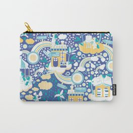 The secret map of Unicorns Village II // indigo blue background Carry-All Pouch