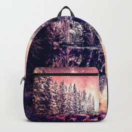 A Cold Winter's Night : Mauve Pink Winter Wonderland Backpack
