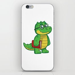 Cartoon Crocodile Schoolboy iPhone Skin