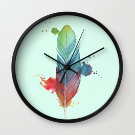 Mint background Rainbow Feather Wall Clock