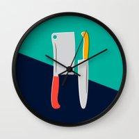 chef Wall Clocks featuring Chef Knives by Sam Osborne