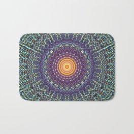Happy Sun Circle Bohemian Geometric Thread Weave Pattern \\ Yellow Green Blue Purple Color Scheme Bath Mat