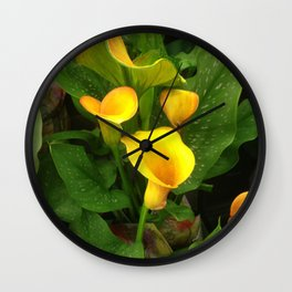 Lavish Yellow Calla Lilies With Lush Leaves Wall Clock
