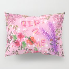 RIP 2 ME - Glitchy Floral Wreath Drawing Pillow Sham