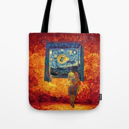 girl on the windows at starry night Tote Bag