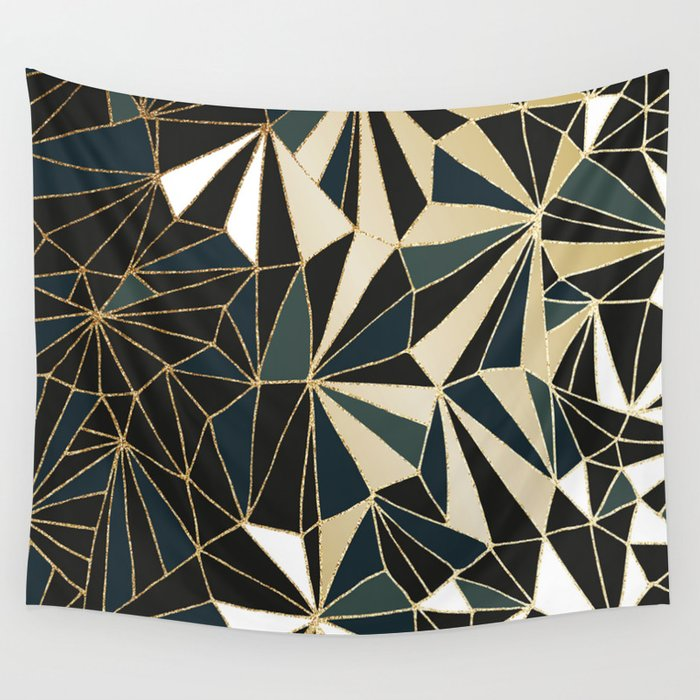 New Art Deco Geometric Pattern Emerald Green And Gold Wall Tapestry