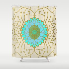 Turquoise and Gold Sunflower Shower Curtain