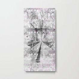 Graphic Art NEW YORK CITY Brooklyn Bridge Metal Print