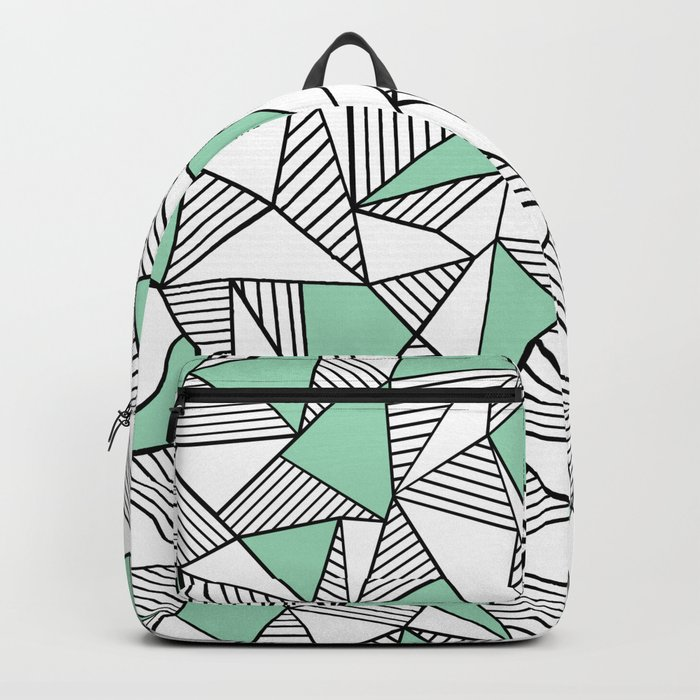 Abstraction Lines with Mint Blocks Backpack