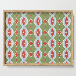 Christmas Holiday Mid Century Modern Garland Stars Stripes in Red Green Blue Gray Serving Tray