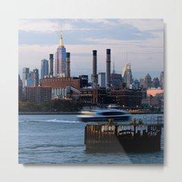 Ferry Passing the Midtown Skyline Metal Print
