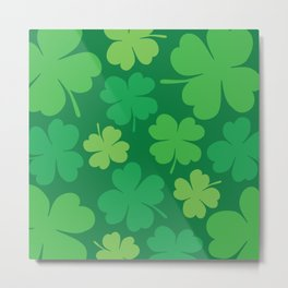 Lucky 4 Leaf Clover Pattern Metal Print