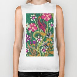 Starry Floral Felted Wool, Green Biker Tank