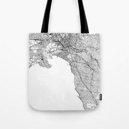 Melbourne White Map Tote Bag
