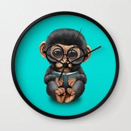 Cute Blue Baby Chimp Reading a Book Wall Clock