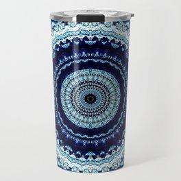 Detailed Blue Boho Mandala Travel Mug