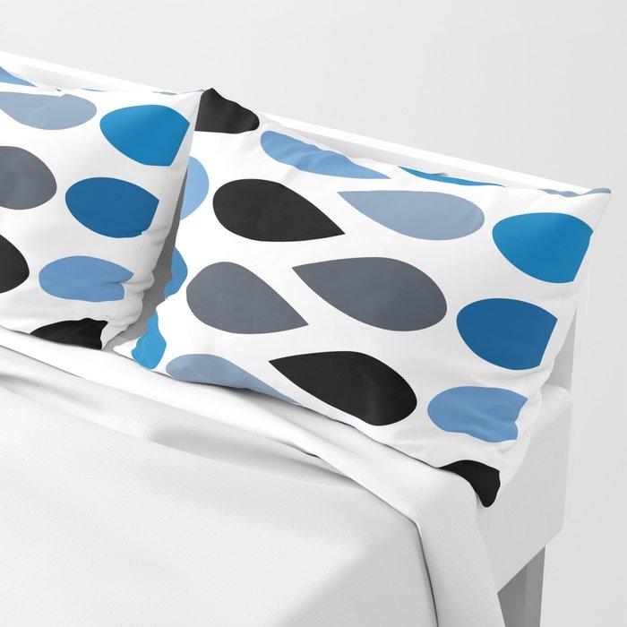 Mid Century Teardrops in Blue Pillow Sham