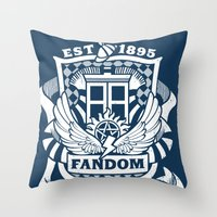 fandom Throw Pillows featuring Fandom School for the Emotionally Invested by isabloo